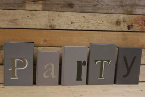 Party signs made from old booksresized
