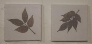 Foggy leaves on tiles